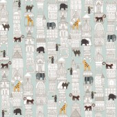 architecture plus animals on silver mint ~ repeating pattern