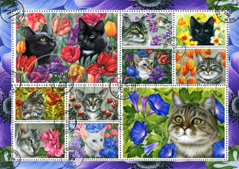 Botanical Cat Stamp Collection blue