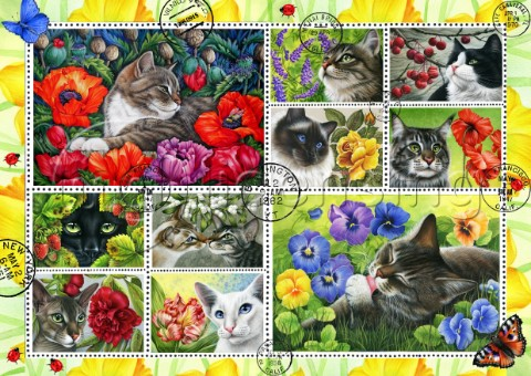 Botanical Cat Stamp Collection yellow