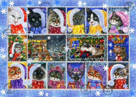 Christma Cat Stamp Collection