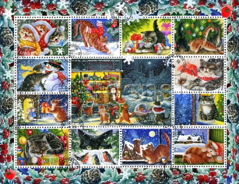 Christmas Cat Stamp Collection 3