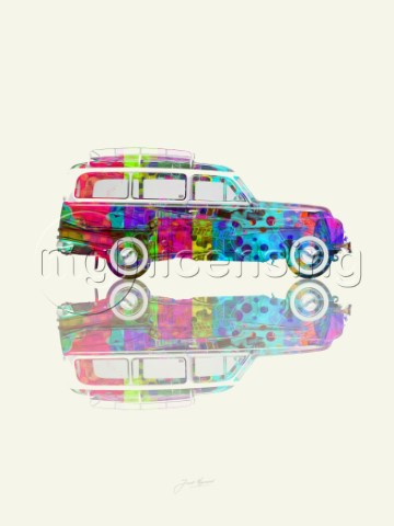 Colourful Vintage Station Wagon Variant 2
