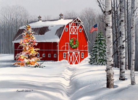 barn with christmas tree  flag