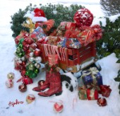 5966-Christmas Presents in Red Wagon on Snow