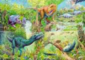 Cretaceous Landscape With Tyrannosaurus Rex, Triceratops And Brontosaurus (Variant 1)