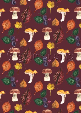 FORAGING MULTI PRINT WITH BRAMBLES LEAVES AND MUSHROOMSBURGUNDY variant 1jpg