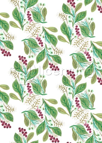 PAINTED NATURE COORDINATING FOLIAGE LEAVES FESTIVE PATTERNjpg