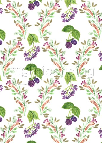 PAINTED NATURE DAMASK STYLE FOLIAGE WITH BRAMBLES AND ELDERBERRIESjpg