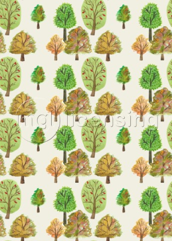 PAINTED NATURE TREES MULTI WATERCOLOUR AUTUMNAL PRINTjpg