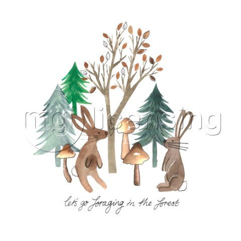 RABBITS FORAGING IN THE FOREST WATERCOLOUR PLACEMENT variant 1jpg