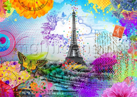 The Eiffel Tower surrounded by vibrant colorful pop art textures and colors in collage