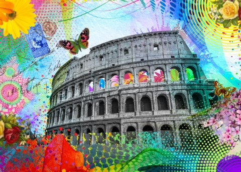 The Roman Colliseum surrounded by vibrant colorful pop art textures and colors in collage