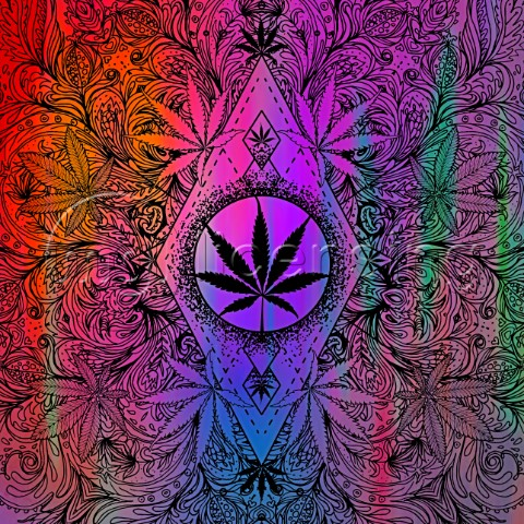 Cannabis Lin Art Pattern variant 1