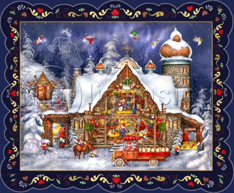 Santas Barn with border variant 1