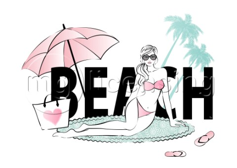 Beach vacation woman illustration
