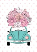 Vintage car with pink roses illustration