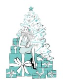 Woman with champagne sitting in front of Christmas tree