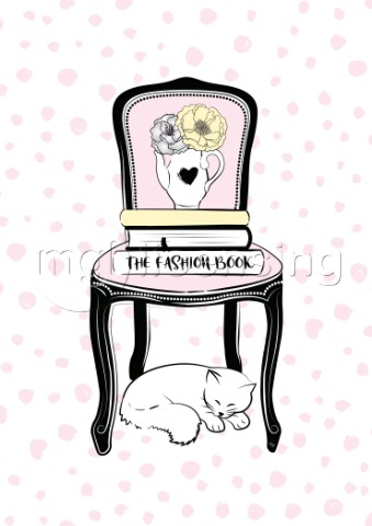 Vintage chair with books and sleeping cat illustration