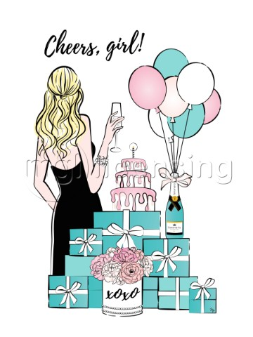 Womna with champagne celebrating card