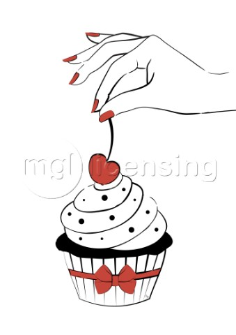 Yummy cupcake with a cherry on top illustration