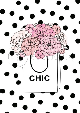 Pink peonies in a chic paper bag illustration