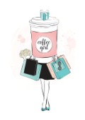 Illustration of a shopaholic girl with a big cup of coffee