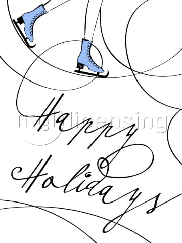 Ice skating illustration with a text