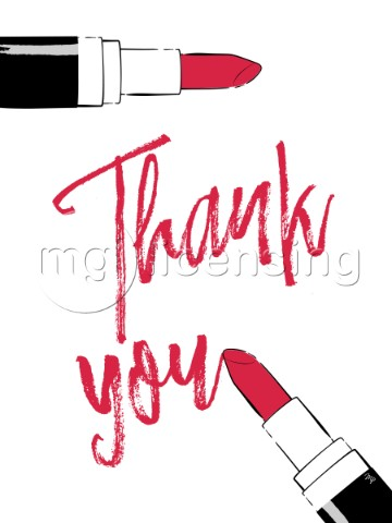 Thank you written with a lipstick card