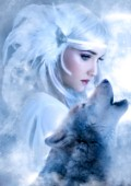 A beautiful snow maiden and her wolf guide